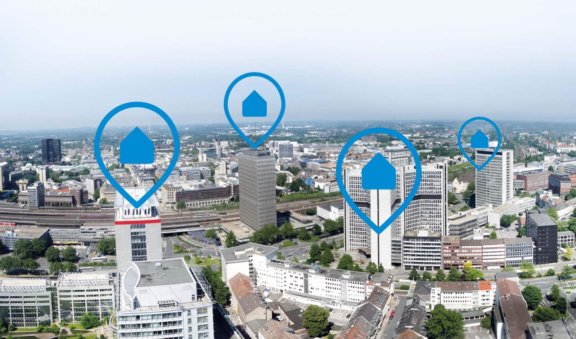 Stadt mit Standortmarkern