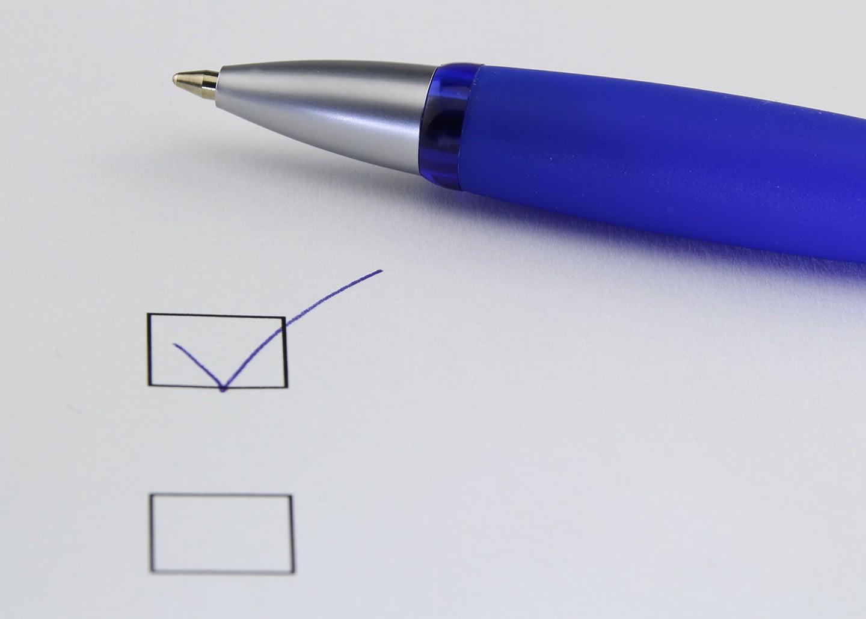 Checkliste mit Haken