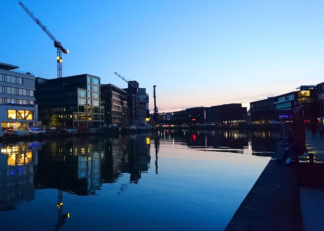 Münster Hafen Abendstimmung
