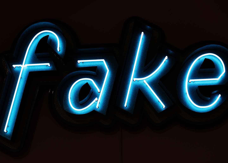 """leuchtschrift mit dem Text """"fake"""""""